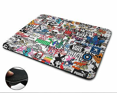 Sticker Bomb Premium Quality Flexible Rubber Mouse Mat / Mouse Pad - white