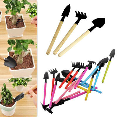 3Pcs Gardening Hand Tools Sets Rake Spade Shovel for Flower Pot / Kids Planting