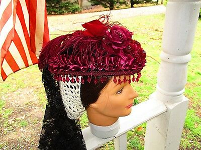 Civil War~Victorian~Frontier Accessories Lady's Gorgeous Burgundy Hat~Only One