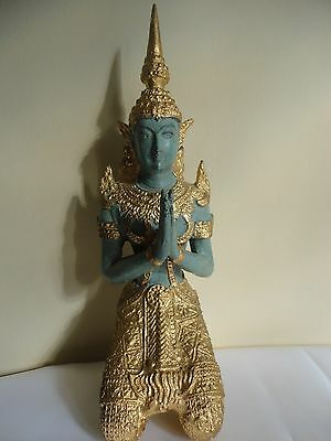 "Antique Asian Chinese Thai 9""gilded Bronze Kneeling Praying Buddha Temple Statue"