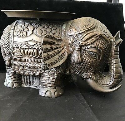 Solid  Bronze Elephant Ornamental Plant Stand Curled Trunk