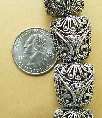 Large Silver Beads Vintage Style Filigree Light weight Hollow 10- total