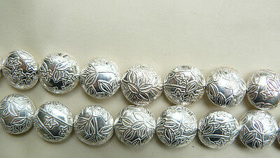 """ROUND SIDE CENTER DRILLED SILVER BEADS (pillow) Etched leaf pattern 8 1/2"""" st"""