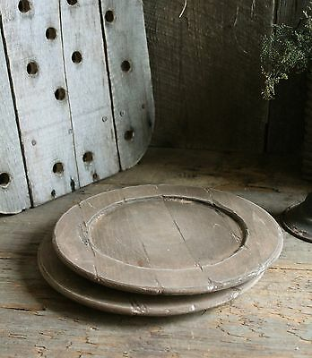 Primitive Early Homestead Look Aged Wooden Plates *Set of 2