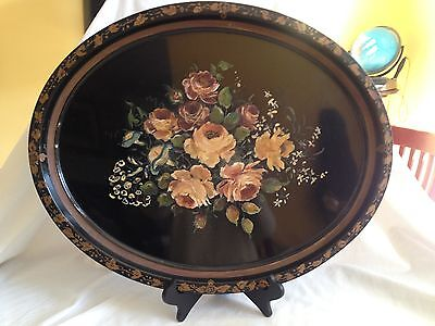 Large 1940s Hand Painted Roses & Blue Flower Antique Black Oval Tole Tray