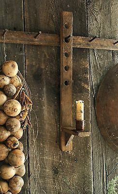 Primitive Early Lighting Inspired Tobacco Lath Adjustable Candle Sconce w/Stub