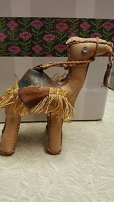 Vintage Faux Leather Camel Figurine hand stitched