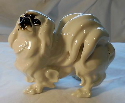 Vintage Hutshenreuther Pekingese Dog Figurine, JHR Mark, White Color Excellent