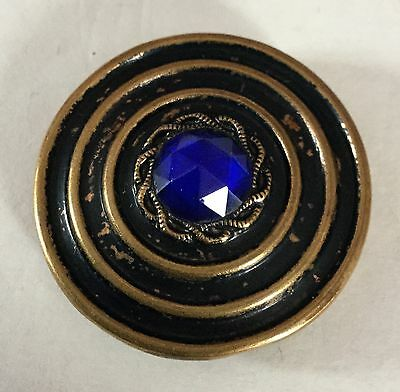 Blue Glass Jewel In Metal Multiple Border Large Antique Button Old