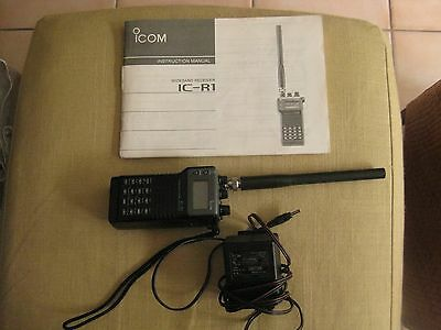 ICOM WIDEBAND RADIO Receiver Ic-R1 W/ Battery Charger & Manual