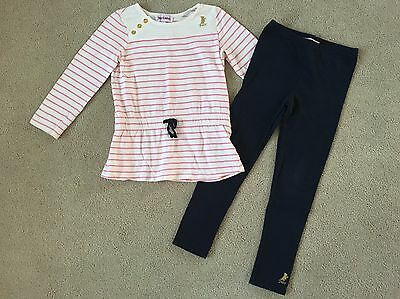 Juicy Couture Girl's Pink Striped Tunic Top & Leggings Outfit Size 5 Euc