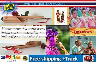 1 Pc Traditional Thai Musical Instrument Wote Bamboo Thai Esan Panpipe Handmade