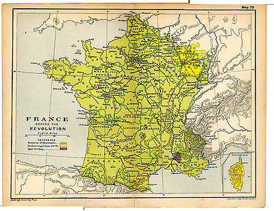 1912 ORIGINAL map France before the Revolution Map 79