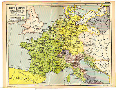 1912 ORIGINAL map French Empire Central Europe 1811 Political Divisionsb Map 94