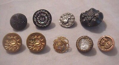 Collection~9 Victorian Antique Vintage Assorted Buttons~Jet Black~Brass & More!