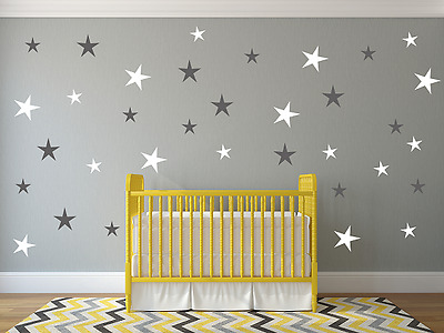 Stars Wall Stickers Decal Baby Kids Bedroom Design Big Size 80 PCS 2Color Choose