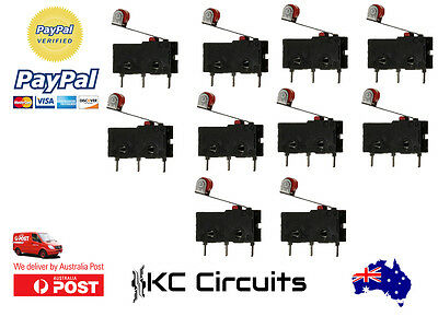 10 Pcs 125V-250V Micro Roller Lever Arm Limit Switch