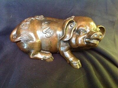 "15"" chinese fengshui bronze zodiac Pigs  With Bats statue"