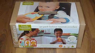 Infantino fashion 50 pack squeeze pouches BPA Free baby toddler child NEW