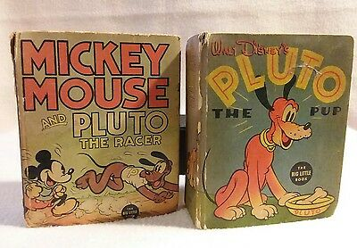 """Pluto"" Pair of Vintage Mini Books by Walt Disney Publications 1930's"