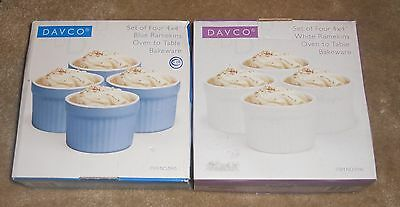 RAMEKINS BAKEWARE by DAVCO x 2 sets of 4!  New! White + Blue