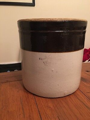 Vintage 3 Gallon Robinson Ransbottom Crown Pottery Cobalt Blue Crown Brown/Tan