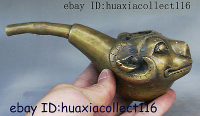 Old Folk Chinese Collect Bronze Sheep Head Statue Pipe Holder Smoking Tools