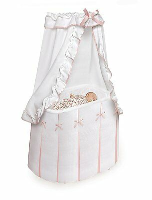 Badger Basket Majesty Baby Bassinet with Canopy, White/Pink