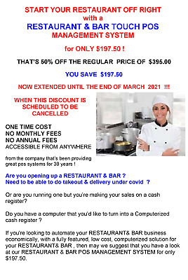 RESTAURANT& BAR POS SYSTEM for ONLY $197.50 - 50% OFF srp OF $395.00
