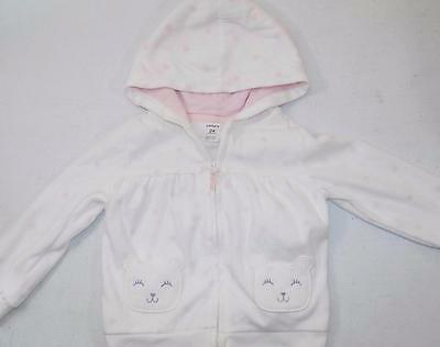 Carter's Baby Girls White Hoodie Jacket 100% Polyester NWT Size 24M