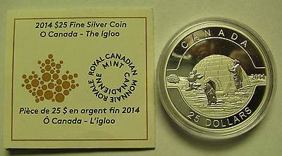 2014 Proof $25 O Canada #1-The Igloo 1oz .9999 silver COIN & COA ONLY