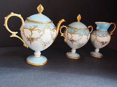 1900 Antique Raised Gold Encrusted Footed Pedestal Teapot Creamer Sugar Set 3 pc