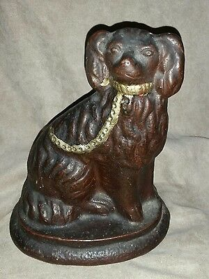 Antique Vintage Cast Iron Pekingese Lap Dog Doorstop