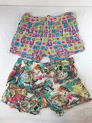 Lot Of 2 For Repair Vintage Jams World Shorts Hawaiian Funky Floral Tropical L
