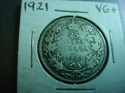 Canada 1921 Silver 25 Cents vg King George V