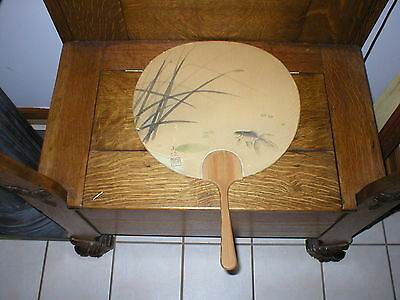 SALE! Antique Japanese Fan Wood Handle  Koi Hand Painted, Signed