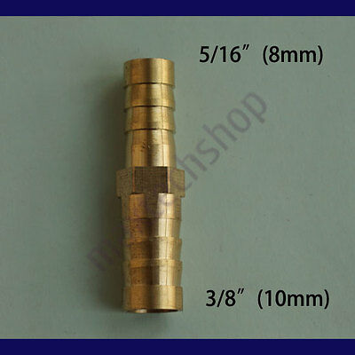 5/16 to 3/8 (8mm X 10mm) Union Hose Barb Brass Fitting Air Gas Fuel Reducer Boat