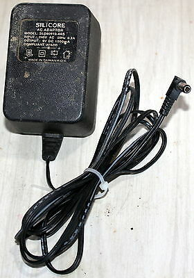SILICORE AC ADAPTOR MODEL: SLD80910-4AS OUTPUT: 9V DC 1000mA 1A INPUT: 240V AC