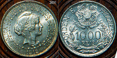Brazil Silver Coins 1000 reis 1912 Silver BU Uncirculated toned