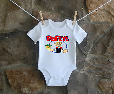 Popeye Babygrow Funny Bodysuit Baby Clothes New Baby Boy Girl