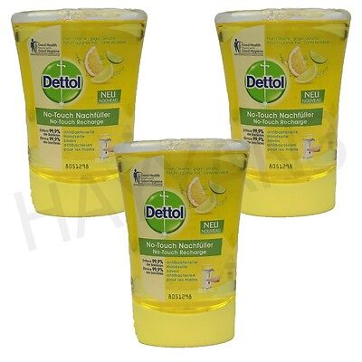 3 x Dettol No Touch Hand Wash Refill Citrus Soap Anti Bacterial 3 Pack 250ml