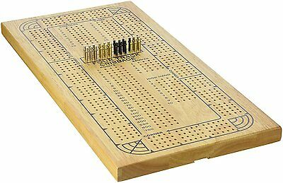 4 Track Cribbage Classic Game Brass Cribbage Pegs Wood Cribbage Board