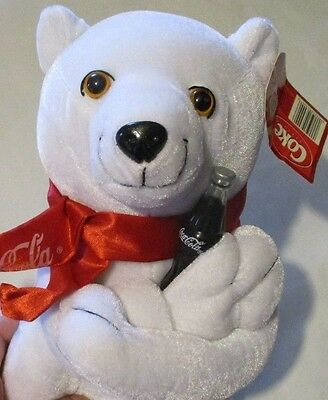 New with Tags! Coca Cola Bear with Scarf Holding Coke Bottle Plush Collectible
