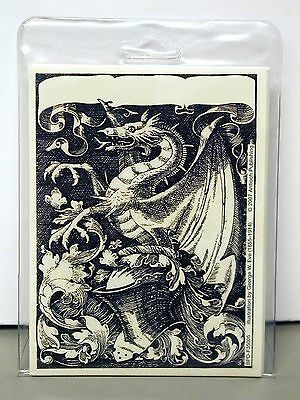 NEW pkg of12 BOOK PLATES~ DRAGON on a KNIGHT'S HELMET ~George W. Eve (1855-1914)