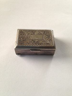 Vintage Sterling Pill Box Engraved Top Japan