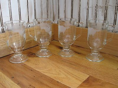 4 NESTLE Nescafé World Globe Pedestal Coffee Mugs Cups Etched Glass Footed NEW