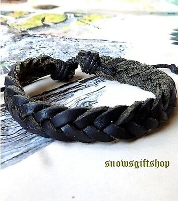 Men Trendy Classic Braided Soft Leather Fashion Surfer Biker Characters Bracelet