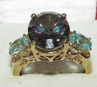 BEAUTIFUL SECONDHAND 9ct YELLOW GOLD MISTIQUE TOPAZ & APATITE RING SIZE N