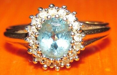 STUNNING SECONDHAND  9ct YELLOW GOLD  TOPAZ & DIAMOND CLUSTER RING SIZE I1/2