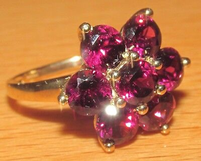 BEAUTIFUL SECONDHAND 9ct YELLOW GOLD RAJASTHAN GARNET CLUSTER RING SIZE O